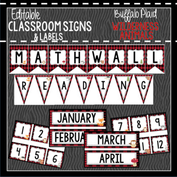 Buffalo Plaid Woodland Animals Classroom Decor, Signs and Labels: Editable