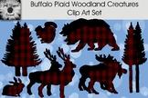Buffalo Plaid Woodland Creatures Clip Art Set