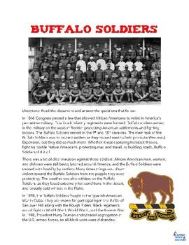 Buffalo Soldiers Reading Worksheet