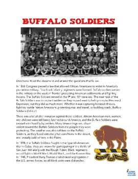 Buffalo Soldiers Reading Worksheet