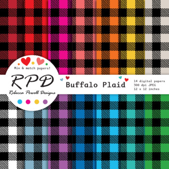 Buffalo plaid, large gingham check digital papers set/ backgrounds