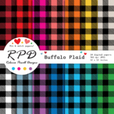 Buffalo plaid, large gingham check digital papers set/ bac
