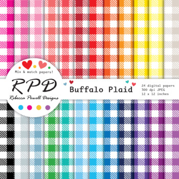 Buffalo plaid, gingham check digital papers set/ backgroundss