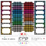 Plaid check clipart digital text box frames & labels set JPEG, PNG & EPS