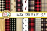 Buffalo plaid pattern, Lumberjack digital paper