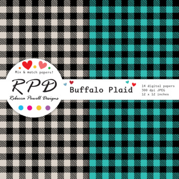 Buffalo plaid, small gingham check digital papers set/ backgrounds