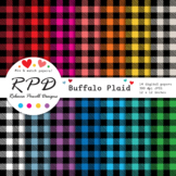 Buffalo plaid, small gingham check digital papers set/ bac
