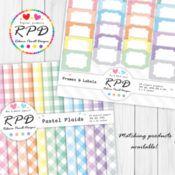 Buffalo plaid, tartan small gingham check pastel digital papers set/ backgrounds