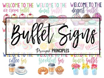 Buffet Signs- Watercolor set of 9