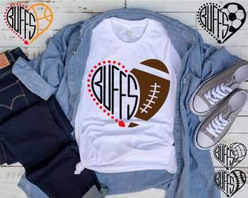 Buffs Sport Heart SVG high School Mascot football Buffaloes SVG 971S