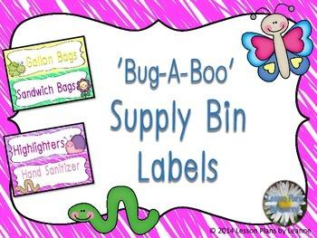 'Bug-A-Boo' Supply Bin Labels  Back To School