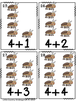 Bug Addition Cards: Math Facts 1-10 Center