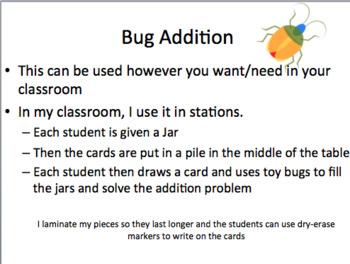 Bug Addition with Manipulatives