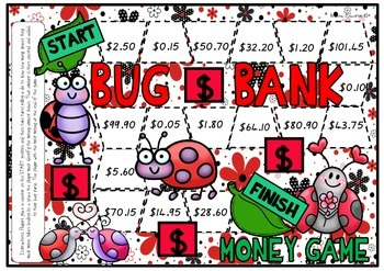 Bug Bank Money Counting Board Game