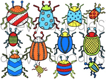 Bright Bugs Digital Clip Art Set