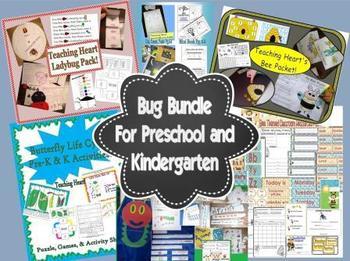 Bug Bundle For Preschool and Kindergarten - Bee, Ladybug,