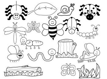 Bug Clip Art-B&W