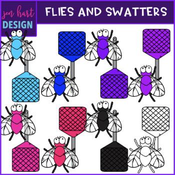 Bug Clip Art - Rainbow Flies and Swatters {jen hart Clip Art}