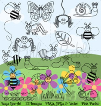 Bug Clipart, Bug Clip Art, Bug Digital Stamps, Insect Clipart, Insect Clip Art