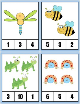 Clothespin Task Card Number Activity - Bugs / Insects Theme