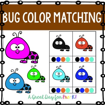 Bug Color Matching Clip Cards for Preschool, Prek, and Kindergarten