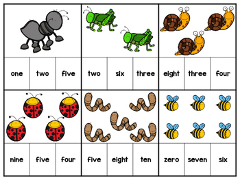Bug Color and Number Clip Cards Freebie