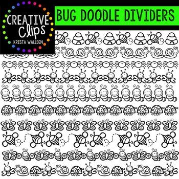 Bug Doodle Dividers {Creative Clips Digital Clipart}
