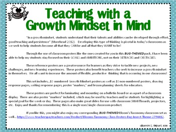 Bug Growth Mindset Posters and Writing (Insect Theme)