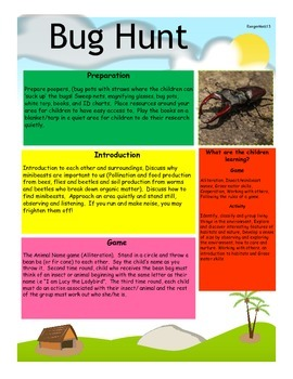 Bug Hunt: Searching for Bugs and In sects Outside.  Outdoor Learning