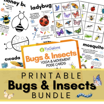 Bug/Insect Theme: Yoga Pose Cards, Lesson Plan, Activity Sheets & More BUNDLE