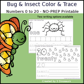 Bug & Insect Themed Number Color and Trace