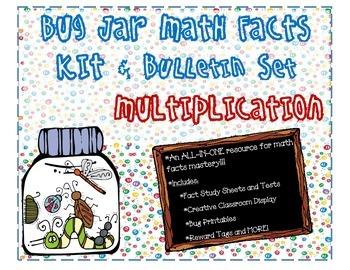 Bug Jar Math Facts Fluency Kit and Bulletin Board Display for Multiplication