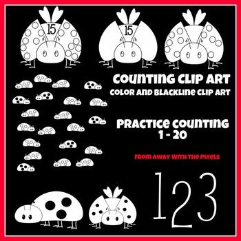 Bug Math Clip Art Set 1 - 20 - Color and Blacklines!