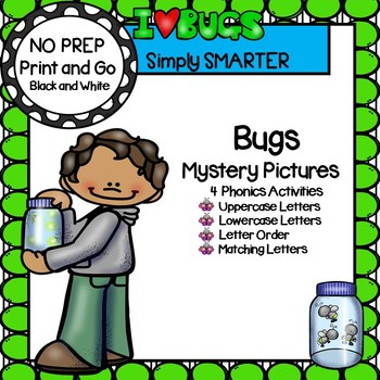 Bug Mystery Pictures:  NO PREP Alphabet Color by the Code Activities
