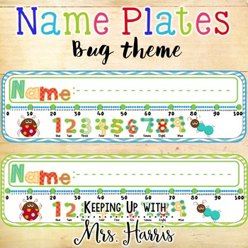 Bug Name Plates - Bug Name Plates with Number Line