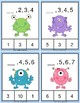Number Sequence Clothespin and Task Cards - Monsters Theme
