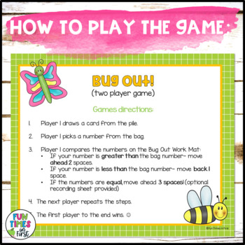 Bug Out! {Comparing Numbers Math Center Game}