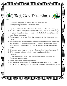 Bug Out Word Study Double Consonant Game