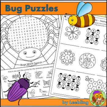 Bug Puzzles - Insect and Minibeast Crossword, Word Search and more