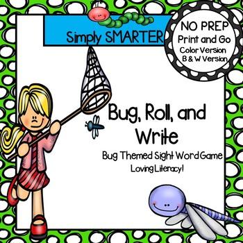 Bug, Roll, and Write:  NO PREP Bug Themed Sight Word Game