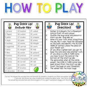 Stack in a Sack - Action Verbs Game (Bug Stack Up)
