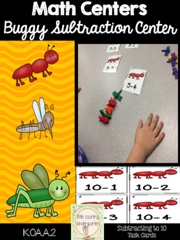 Bug Subtraction Cards: Math Facts 1-10 Center