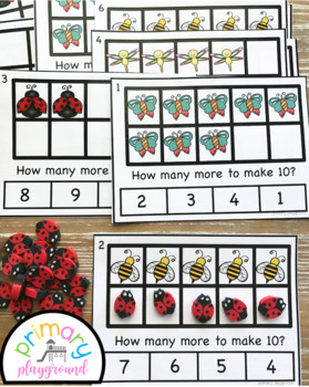 Bug Ten Frame Task Cards Making Ten with Bug Friends Center