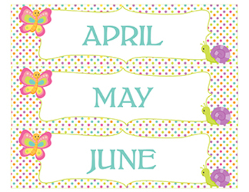 Bug Theme Classroom Calendar Bulletin Board Wall - Months, Days of Week, Insect