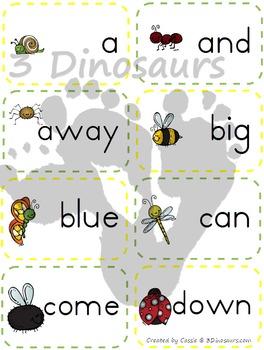 Bug Theme Preprimer Sight Word Cards