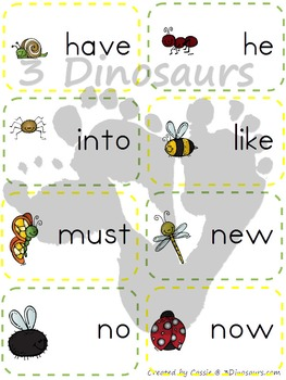Bug Theme Primer Sight Word Cards