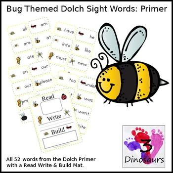 Bug Theme Primer Sight Word Cards