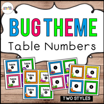 Bug Theme Table Number Signs