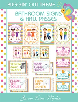 Bug Themed Bathroom Signs, Restroom Hall Passes - Cleanliness - Dots, Insect