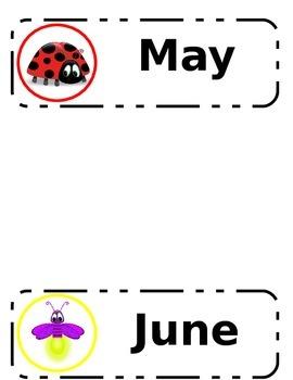 Bug Themed Calendar Months Labels
